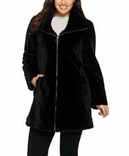 Dennis Basso Toggle Front Tweed Coat Faux Fur Trim Dark Teal M NEW A284848