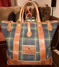 100% Authentic Ralph Lauren Tartan Canvas & Cognac Leather Tote Bag Carry All
