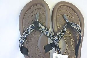 Sandals-STAR-Bay-Sandals-Brown-With-Printed-Fabric-Straps-NEW-SZ-10