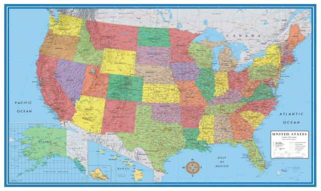 Wall Map of The United States USA Road Travel Maps Hanging US Poster Home  Office