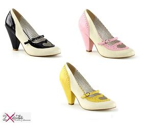 861b68cf8e66d0 PLEASER POPPY 18 PIN UP COUTURE CONE HEEL SHOES HEART 50'S 60'S ...