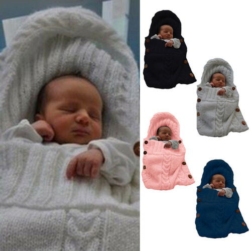 Newborn Baby Boy Girl Knit Crochet Swaddle Wrap Warm Sleeping Bag Blanket Winter