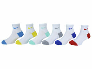 Nike Little Girl's 6-Pairs Color Pop White Asst Ankle Socks Sz: 5-7 Fits 10C-3Y
