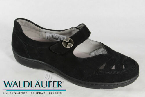 Waldläufer Damen Slipper Ballerina schwarz Leder Lederwechselfußbett NEU!