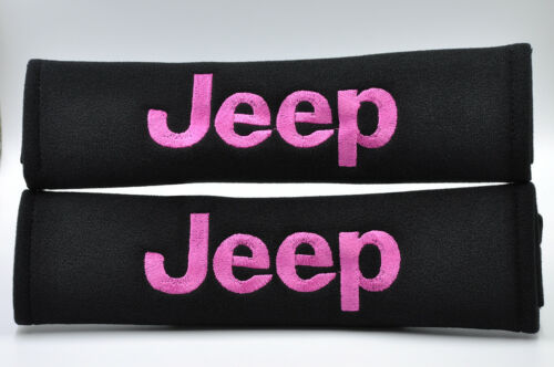 Pink on Black Embroidery Seat Belt Cover Harness Shoulder Pads Pair for Jeep