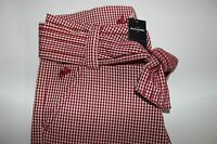 Abercrombie Size Medium Girl's Flat Front Red White Check Capri Pants