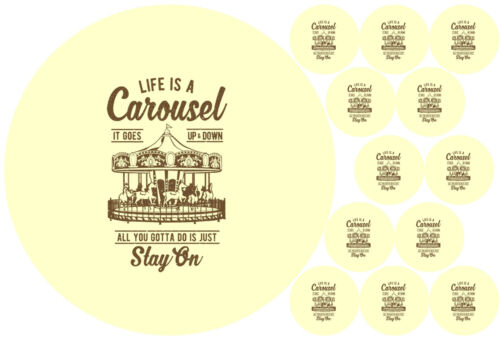 """7.5/"""" Cake Topper 12 cupcakes Carousel personal Rice paper,Icing fondant.1129"""