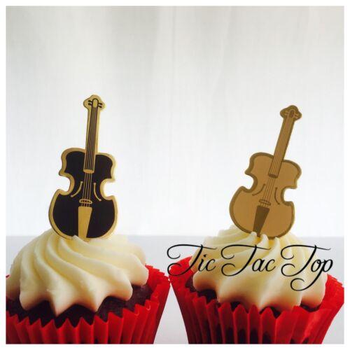 Party Supplies Music Lolly Bag 12x Violin Cello Card CUPCAKE TOPPER Pick