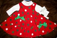 Rare Editions Girls Red Polka Dot Holiday Church Party Dress Size 6 Months