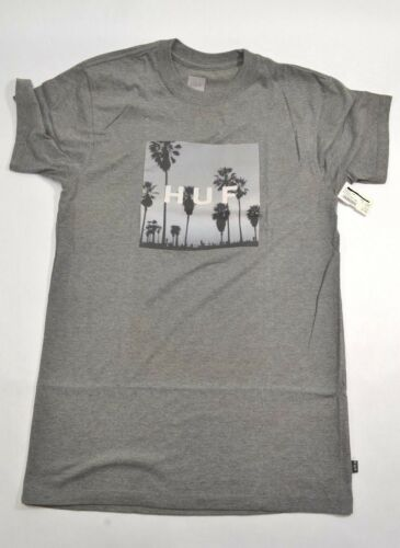 Huf LAS PALMAS BOX LOGO Grey Heather Black Skyline Screenprint D Men/'s T-Shirt