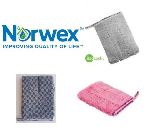 NORWEX Bathroom Scrub Mitt Grey Pink QUALITY MICROFIBRE Shower Bath