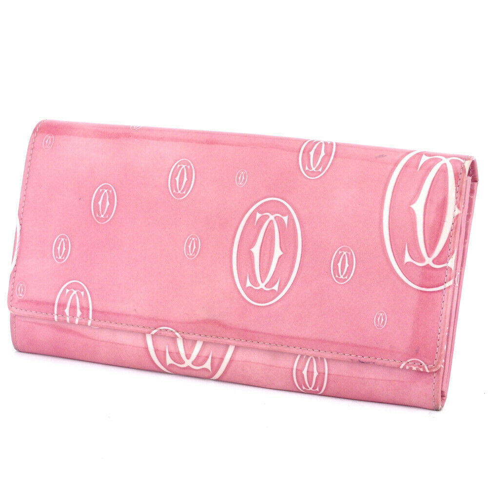 Cartier Purse Happy Birthday pink enamel leather Auth used T17526