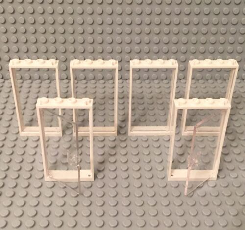 Lego 2 New Transclear Glass Door,4 Window Walls W White Frame 1x4x6 Parts Lot