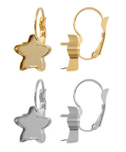 Brass Leverback Earring Bases for 4322 Teardrop Fancy Stones Crystals 10mm