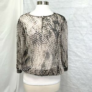 Chico-s-M-Sz-1-Top-Blouse-Brown-Animal-Print-Sheer-3-4-Sleeve-1-4-Button-a