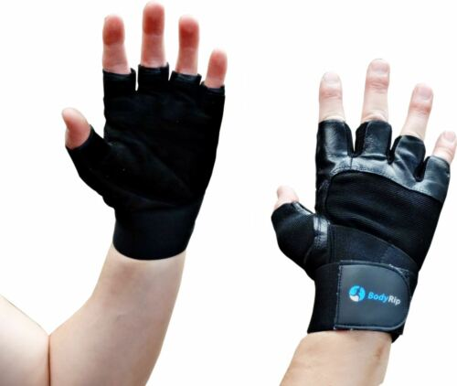 BodyRip Genuine Leather Weight Lifting Body Building Gloves Gym Training S M L