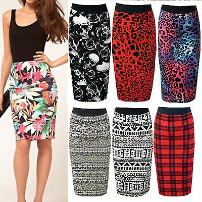 WOMEN LADIES AZTEC POLKA CAMO SKULL LEOPARD PRINT LONG WIGGLE KNEE PENCIL SKIRT