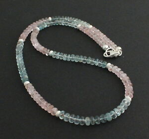 """Natural 3 Rangée 2x4mm Rose Morganite Gemstone Faceted Beads Necklace 17-19/"""" AAA"""