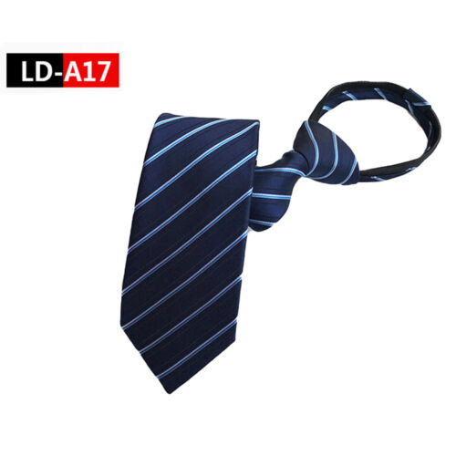 Men's Zipper Ties Striped Wide 8CM Business Neckties Wedding Party Formal Tie