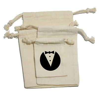 Tuxedo - Wedding Bachelor Shower Muslin Cotton Gift Party Favor Bags