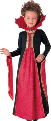 Girls Vampire Costume Gothic Vampiress Fancy Dress Dracula Halloween Outfit