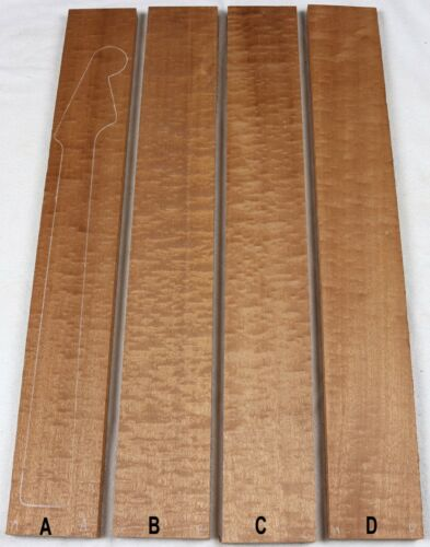"""Figured quilted sapele electric guitar neck blank 4.2x30.5/"""" SN39"""