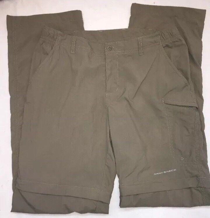 Columbia Womens Pants Omni Shade S PFG Khaki Zip Off Legs Small Hiking Fishing
