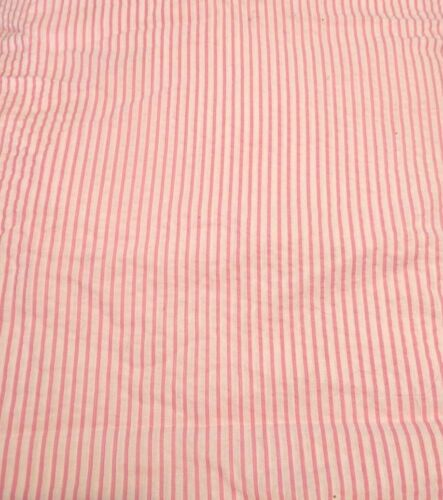 Rosa//Crema a Rayas Arruga Tela Madras polivinílico-algodón Se Vende Por Metro Medio