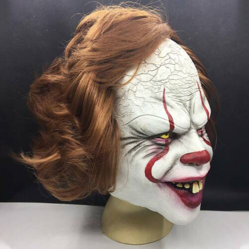 Adult Pennywise IT Clown Mask Games  Scary Halloween Costume Cosplay Dress Prop