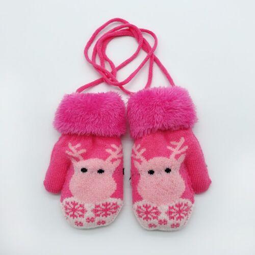 Novelty Toddler Baby Winter Cartoon Deer Christmas Velvet Knitted Mittens Gloves