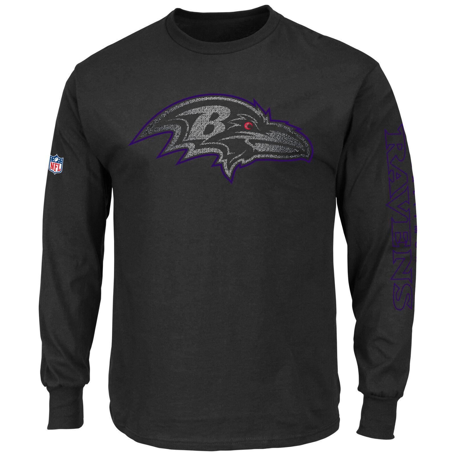 NFL FOOTBALL SHIRT Baltimore Ravens Joel manica lunga camica MAJESTIC Nero