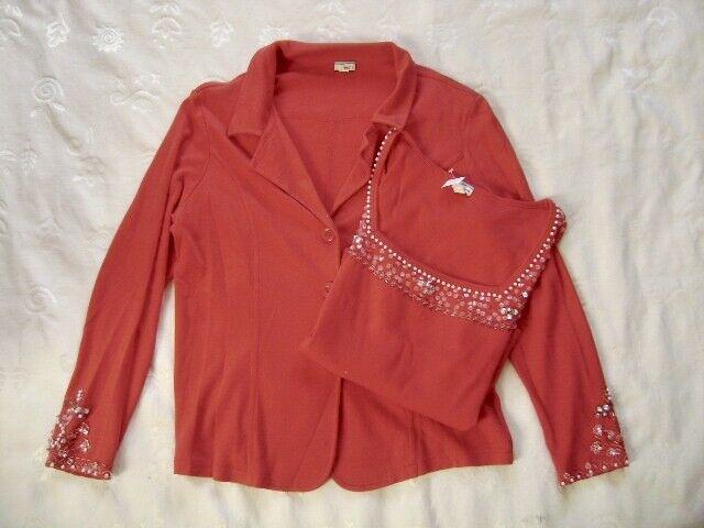 @ Heine @ Twinset Blazer und Top rot Size XL UK 16 US 14 EUR 42 mit Straß