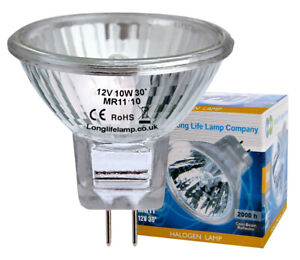 HALOGEN LIGHT BULB 12v MR11 10 watt ~ Fiber optic CHRISTMAS 12 VOLT 10w covered