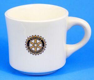 Rotary-International-Cup-Mug-White-Logo-Vintage-Ceramic-Made-in-USA-EUC