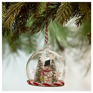Bethany-Lowe-Snowman-Mini-Globe-Glass-Christmas-Tree-Retro-Vntg-Decor-Ornament