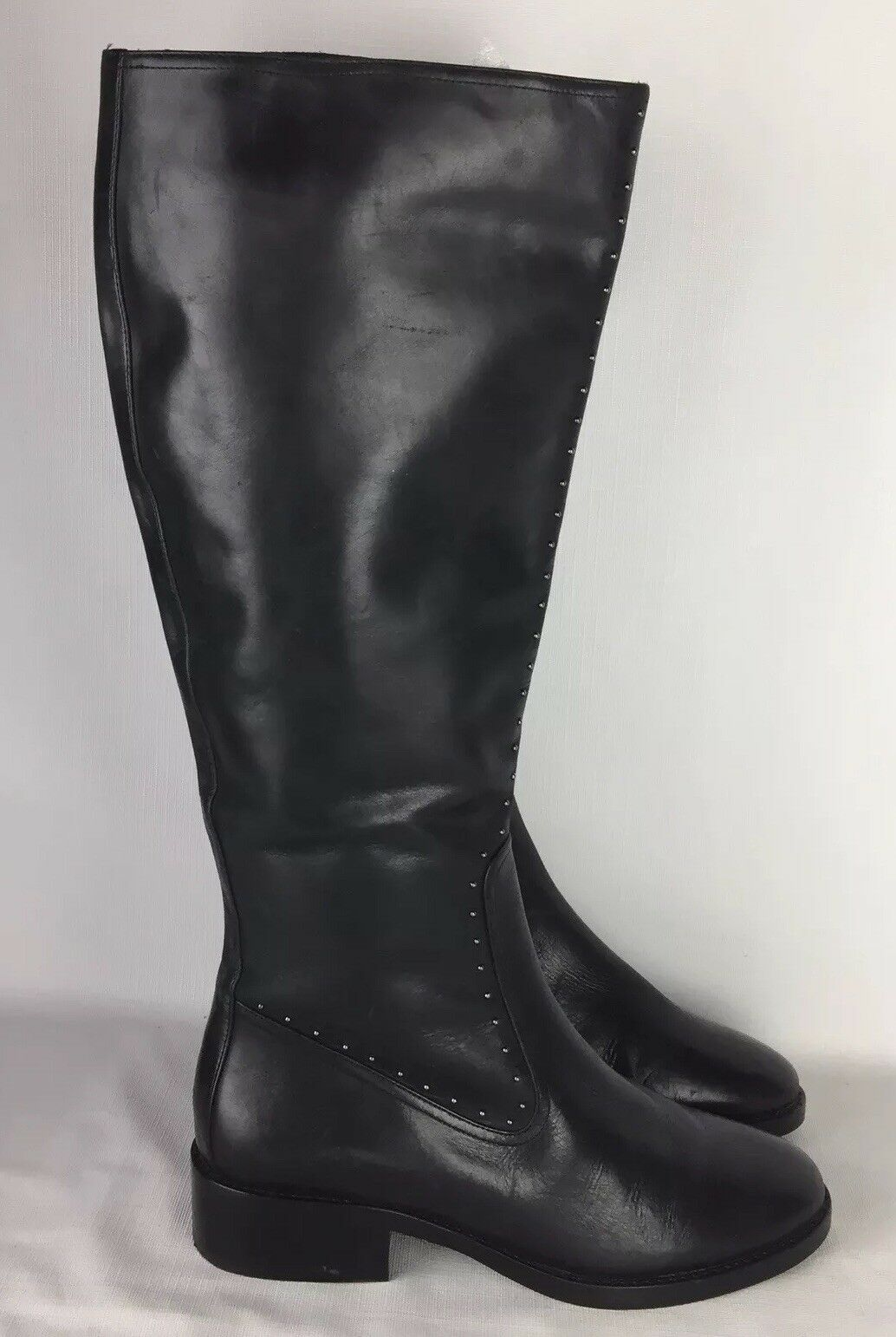 SAKS FIFTH FIFTH FIFTH AVEWOMANS BLACK LEATHERTALL RIDING BOOTS STUDS  450 7.5 7f64cf