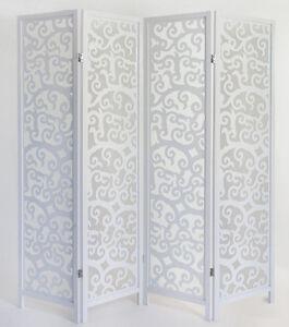 Paravento in legno bianco Arabesco - 4 pannelli | eBay