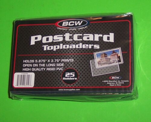 """HOLDS 5.875/""""X 3.75/"""" CARDS RIGID PVC CASE OF 20 PACKS 500 POSTCARD TOPLOADERS"""