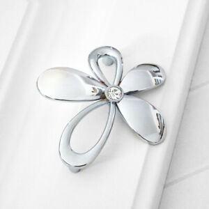 Flower Crystal Dresser Drawer Pulls Handles Kitchen Cabinet Knobs Chrome Silver Ebay