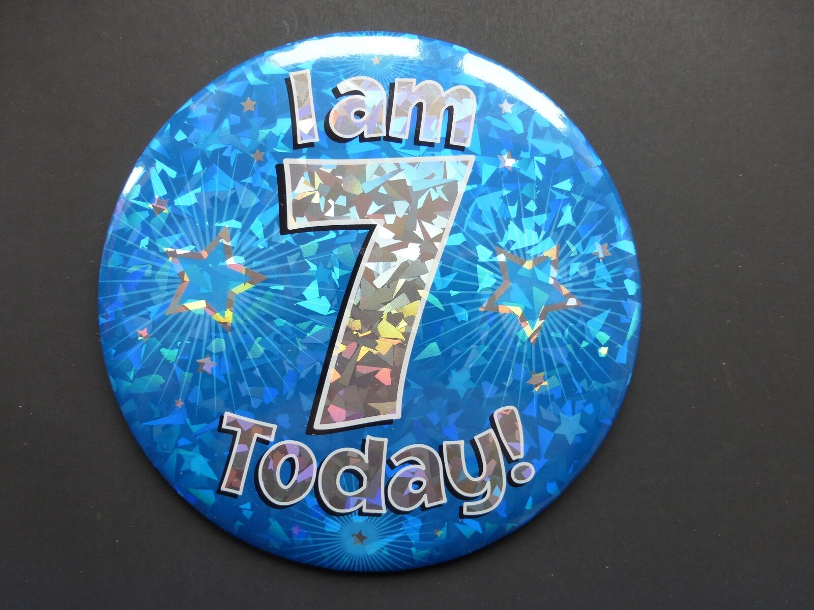 6/'/' Jumbo Badge I am 1 Today Blue Holographic Cracked Ice