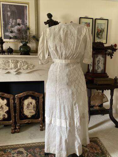 Antique Edwardian Victorian Dress Embroidery Cotto