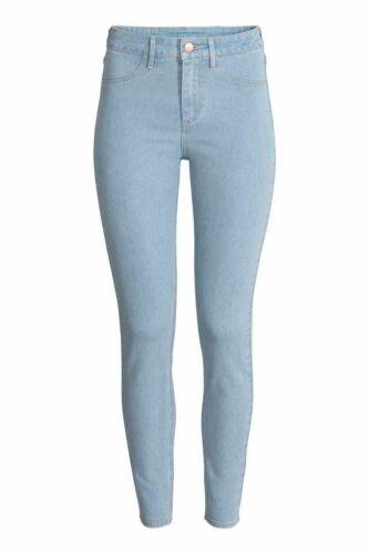 Da Donna Ex-Zara Spandex Jeans Stretch Denim Lavaggio Scuro Nero Pantaloni 8-16