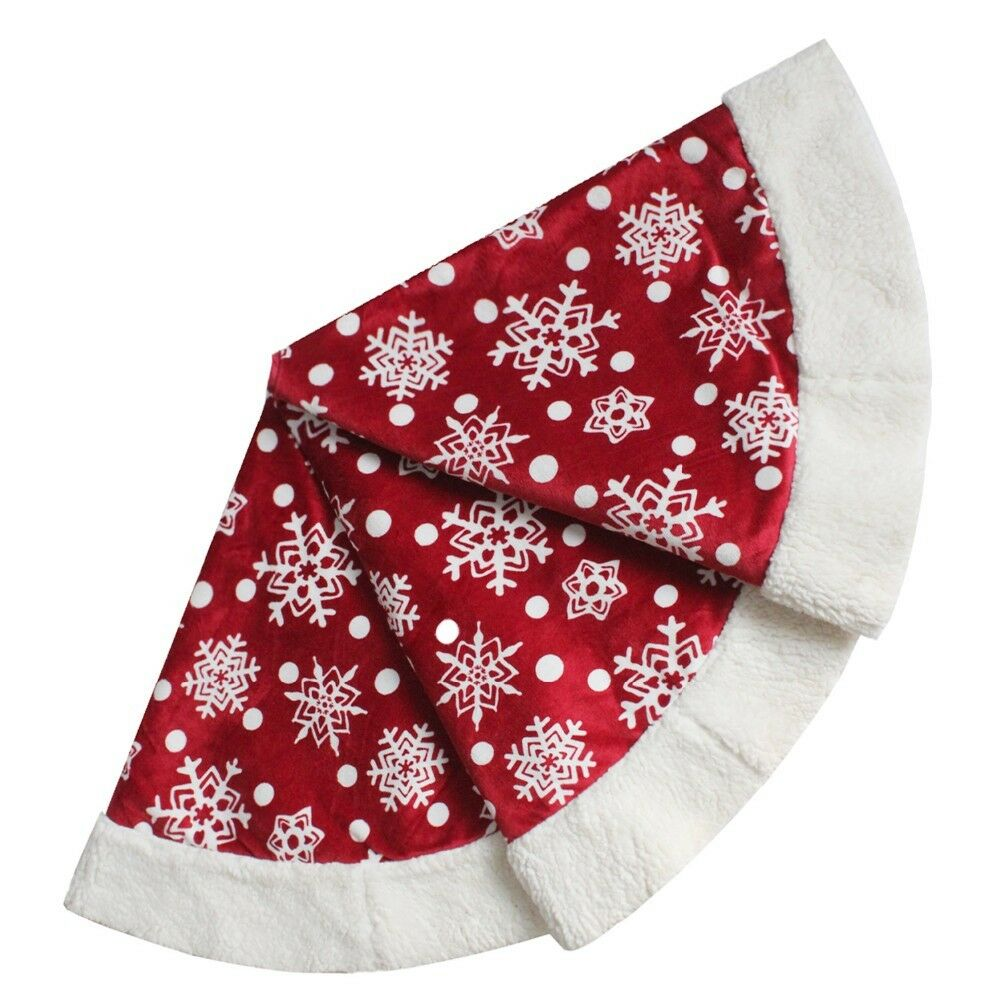 Arbre de Noël jupe de Noël Rouge Tartan Bourgogne Tartan Rouge Matelassé Brodé Fourrure Sherpa Fel 4025a7