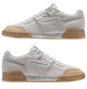NEW-Reebok-Classic-Workout-Plus-Skk-Skull-Gray-Gum-Casual-Shoes-Mens-US-Size-8