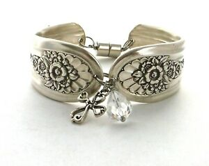 Jubilee-1953-hammered-wide-cuff-bracelet-silverware-cross-charm-7-25-034-medium