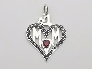 Signed mt tm 925 sterling silver 1 mom marcasite red garnet image is loading signed 034 mt tm 034 925 sterling silver aloadofball Gallery