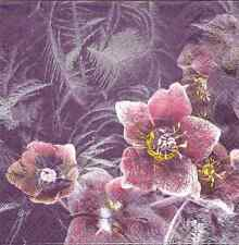 4 Single Paper Napkins for Decoupage Icy Christmas Rose