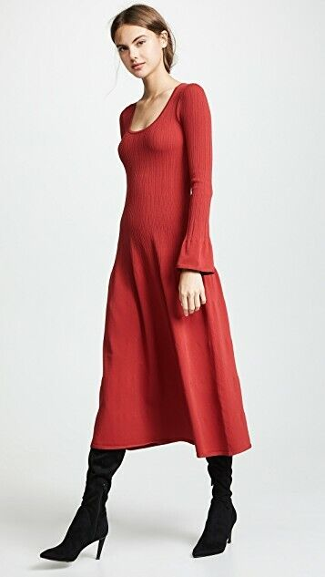 Elizabeth and James Hot Red Knit Maxi Dress Long Long Long Bell Sleeves Size M NWT  595 bfe9f7