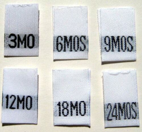 3 6 9 12 18 24 MONTHS 120 PCS WOVEN INFANT CLOTHING LABEL SIZE TAGS