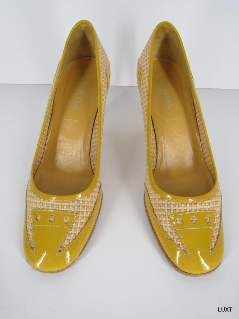 Prada Heels Yellow Patent Leather Rafia Woven Spectator Pumps Work Size Size Work 5 35 6a24f9